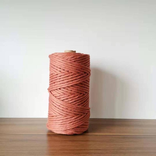 ROPEMATE SOFT COTTON CORD macrame decor project handmade 4MM 100Meters - 1 SINGLE STRAND - BURNT BRICK COLOR
