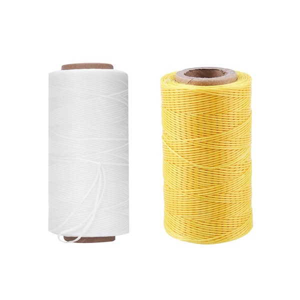 2pcs 260M 150D 1MM Leather Sewing Waxed Wax Thread Hand Needle Cord Craft - White & Yellow