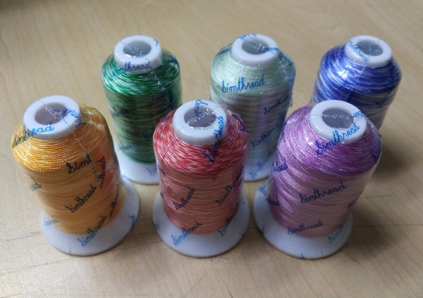 Variegated embroidery machine thread 6 assorted colors, 100% viscose rayon embroidery thread for Brother Singer Janome Pfaff