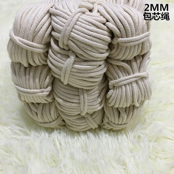 70YARDS, 2MM/3MM/4MM,Beige Cotton Rope Decorative Drawstring Twine Tied Cord For DIY Handmade Bag Shoes Project Accessories