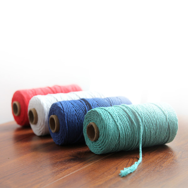 3mm 100% Cotton Rope Home Woven Macrame Cord Wall hanging Arts and Crafts Rope Decorative Twine Cotton Thread Chinese Knot Cord