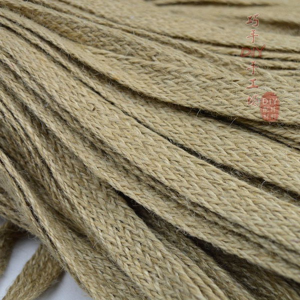 jute 0.8 /1.0/1.5/ 2.0/ 2.5/3.0/3.5/4.0/ 4.5/5.0CM wide*10 meters knitted flat decoration jute rope rope DIY hand weaving
