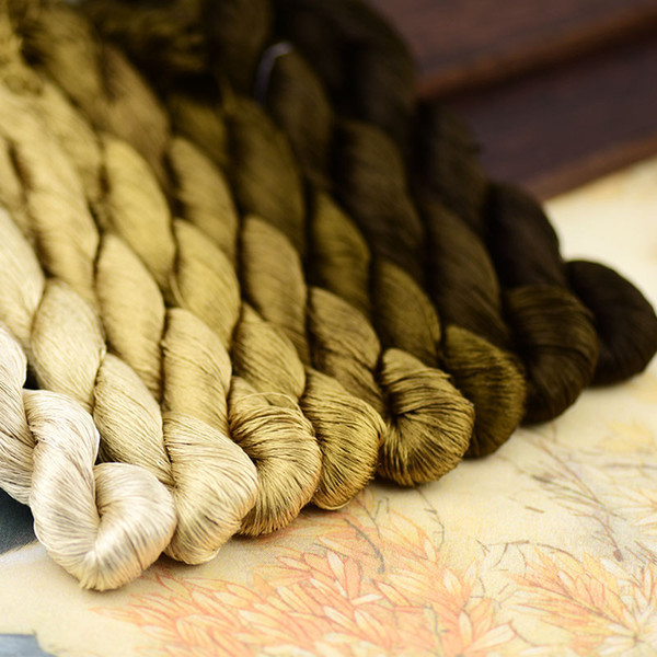 1pcs/400m silk embroidery thread / 100% silk thread /hand embroidery embroider cross stitch/olive color series/8 gradient colors