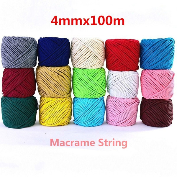 4mmx110yards 100% Cotton Cord Colorful Cord Rope Beige Twisted Craft Macrame String Diy Wedding Home Textile Decorative Supply