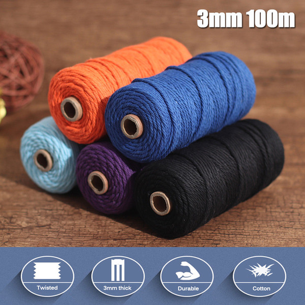 Macrame String For Sewing DIY Handcrafted Handmade Colored Craft String Rope 3mm 100m Natural Colorful Cotton Braided Cord