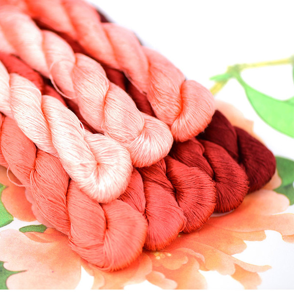 1pcs/400m silk embroidery thread / 100% silk thread /hand embroidery embroider cross stitch/Peony red series/8 pure colors