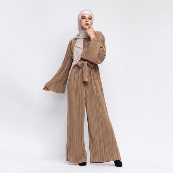 2018 Women Muslim Jumpsuit Flare Sleeve Long Wide Leg Trouser 1 Piece Set Pleated Islamic Clothing Solid Rompers Womens Jumpsuit