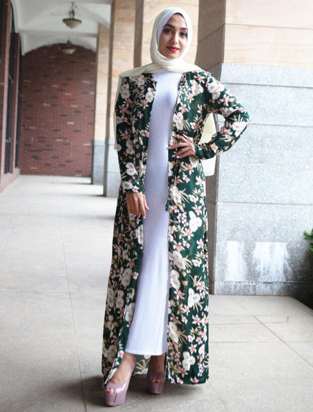 Elegant Muslim Abaya Print Floral Maxi Dress Loose Cardigan Tunic Robe Gowns Festival Ramadan Worship Service Islamic Clothing