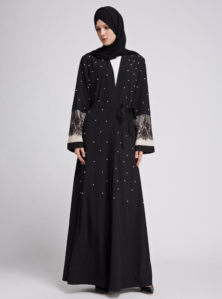 Muslim Lace Open Abaya Pearls Full Dresses Cardigan Kimono Long Robe Gowns Tunic Jubah Middle East Ramadan Arab Islamic Clothing