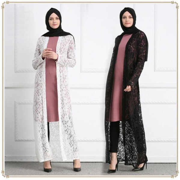 Muslim Lace Open Abaya Full Dresses Cardigan Kimono Hollow Out Long Robe Gowns Jubah Middle East Ramadan Arab Islamic Clothing