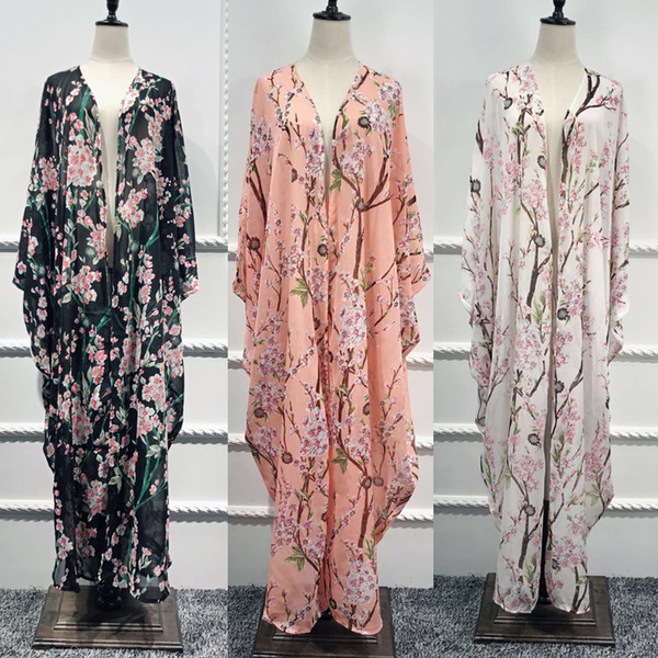 Abaya Dubai Kaftan Islam Long Batwing Floral Cardigan Muslim Hijab Dress Abayas For Women Jilbab Caftan Turkish Islamic Clothing