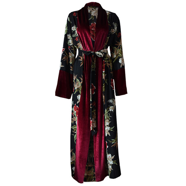 Fashion Plus Size Abaya African Kimonos Kaftan Muslim Women Floral Maxi Cardigan Dubai Turkish Islamic Arab Hijab Dress
