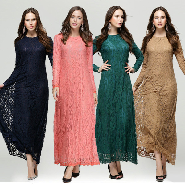 Woman Lace Kaftan Clothing Femme Solid Muslim Vestido Female Long Dresses Islamic Lady Ethnic Maxi Abaya Turkish Kleider Muslim