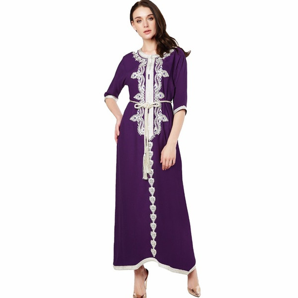 Muslim women Long sleeve Dress maxi long dress islamic clothing Moroccan kaftan elegant embroidery ethnic vintage dress tunic 15