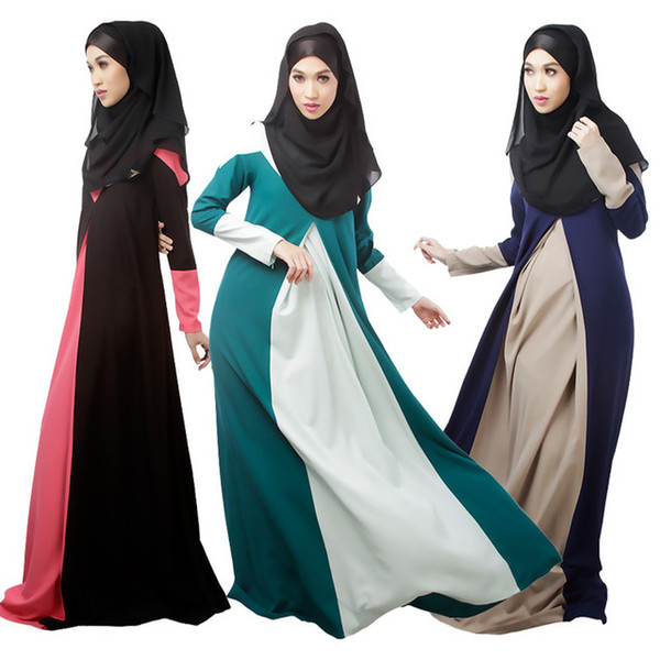 2017 New Muslim Womens Clothing Long Sleeve O-Neck Fashion Dresses Floor-Length Elegant Loose Ethnic Islamic Kaftan Abaya Dress