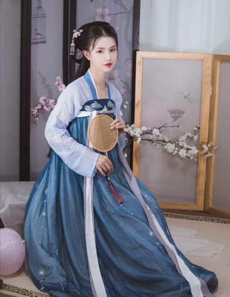 Guose Fanghua Han Dress Female Chest-length Skirt Fairy Pair Skirt Suit Embroidered Summer Dress Daily Traditional Chinese Dress