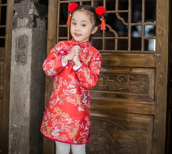 New Year wear baby, baby, tang suit, girl's cheongsam, winter 2018, New Year dress, Chinese style dress for Chinese New Year celebration