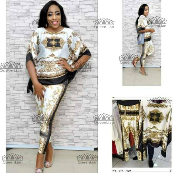2018 African Dashiki New Dashiki Fashion Suit (Top and trousers) Super Elastic Party Plus size For Lady