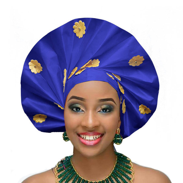 Fanshaped Nigerian gele african headtie hele turban cap aso ebi gele big brim already made auto aso oke 2018
