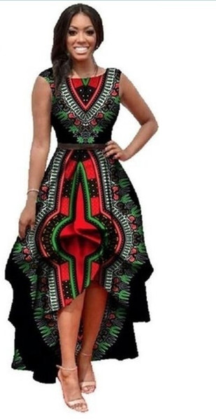 African Dresses Polyester Traditional African Clothing Time-limited Real 2018 Large Swing Waist Sleeveless Dress Women Printing