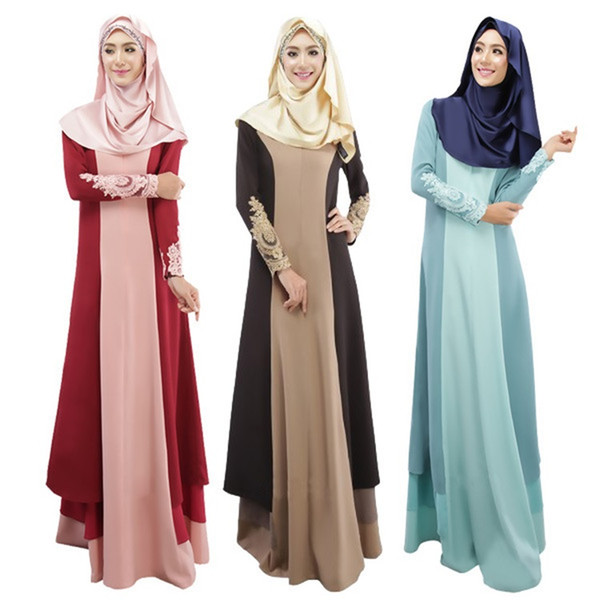Muslim Stitching Fashion Ethnic Islamic Clothing Abaya Muslim Dress Malay India and Pakistan Long Sleeved Dress National Women's dress