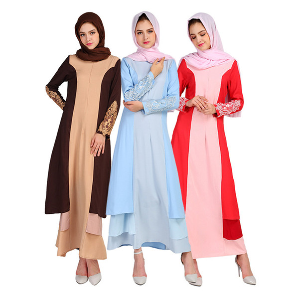 Latest design long sleeve abaya turkish women clothing maxi dresses lace patchwork plus size contrast color muslim party dress abaya