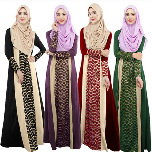 Women's lace kaftan color block Islamic abaya jilbab muslim loose dress long sleeve maxi prom dresses for muslim women