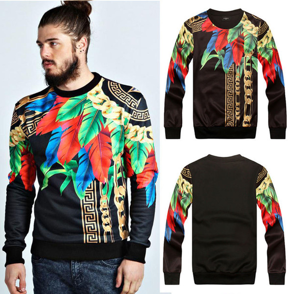3D Mall Spring Sweatshirts Paris Top Design Colorful Feathers Leaves Golden Chains Medusa Cool Men's Slim Pattern Sweatshirt Hoodies M-2XL