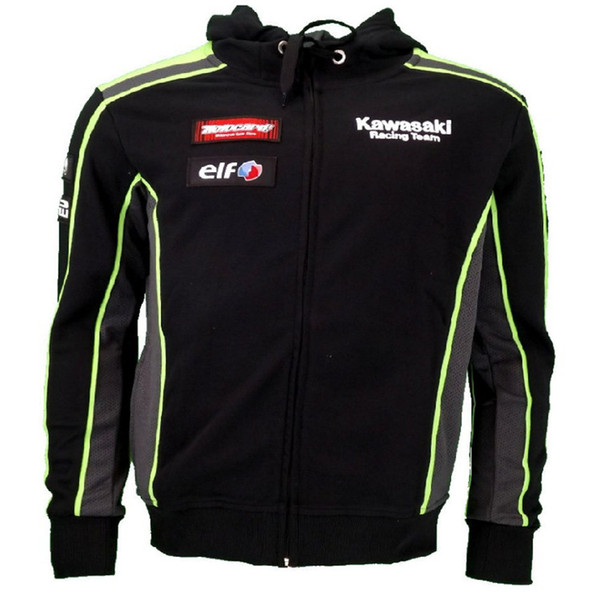 Kawasaki Racing Team Uniform Designer Hip Hop Cardigan Hoodies Casual Hooded Sweatshirts Male Printed High Street Pullover