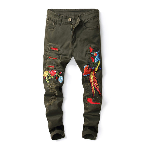 2019 New Embroidery Animal Jeans Men Beggar Denim Jeans For Men Slim Moto & Biker Designer Slim Trousers Homme