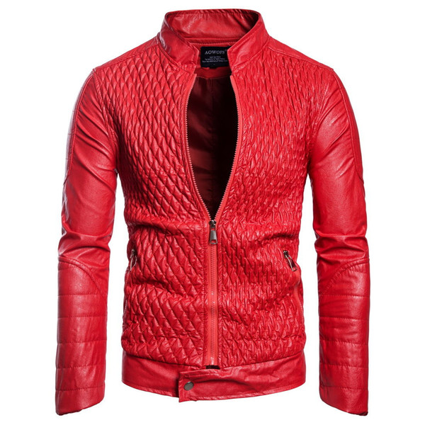 Mens Designer PU Leather Jacket Male Casual Faux Leather Jacket Autumn Winter Thin Coat Free Shipping