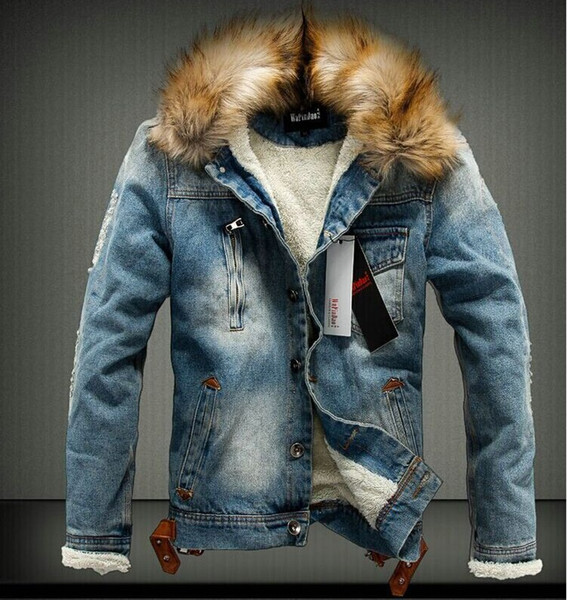 Fall-2017 Mens Jackets Fur Collar Fur Lining Denim Moto Thick Jacket Warm Coat Trench Outwear 2 Colours Size M-3XL Free Shipping