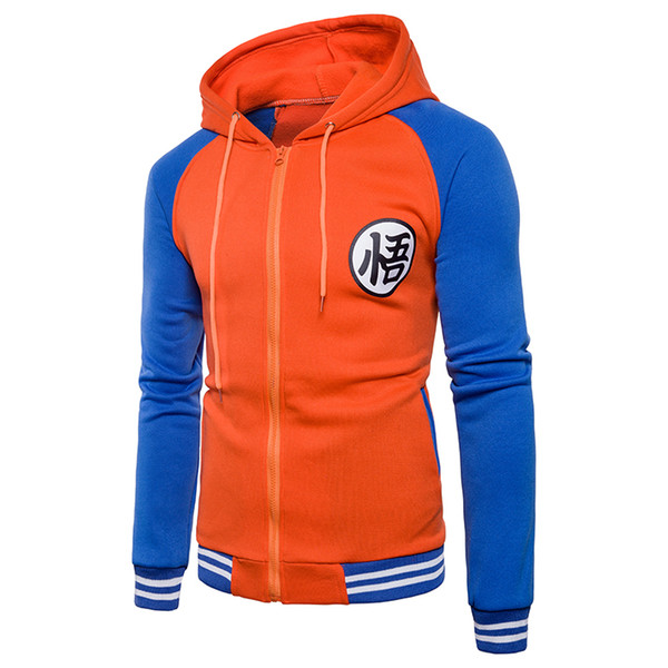 Mens Autumn Winter Hooded Sweatshirts Zipper Jackets Coats Dragon Ball Goku Print Homme Slim Hoodies Cardigan Panelled Mens Clothing