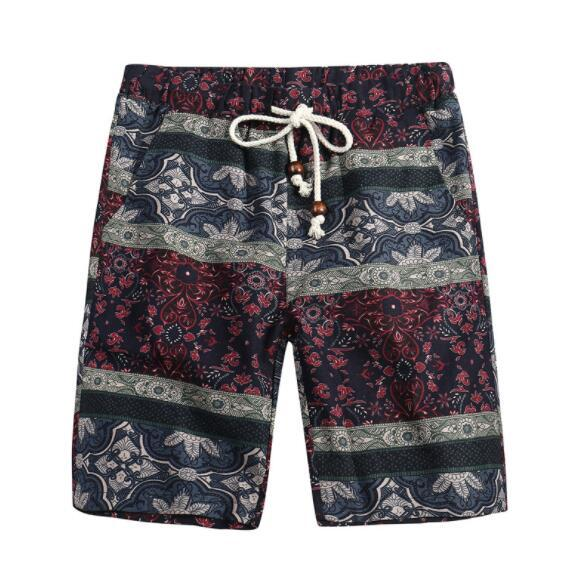 Fashion men's straight floral spring and summer men's beach flower shorts Hawaii casual loose five pants men's casual five pants