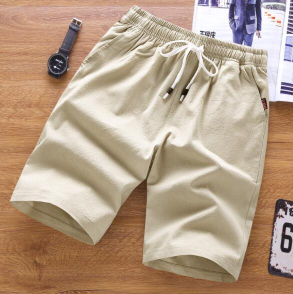 European and American men's casual solid color five pants summer cotton beach pants men's casual pants loose