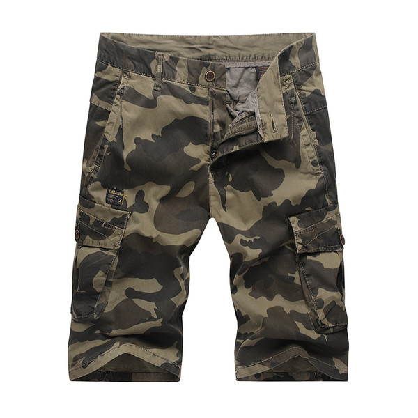 100% Cotton Mens Camo Shorts New Summer Casual Pants with Pockets 2 Colors Large Size Sports Shorts