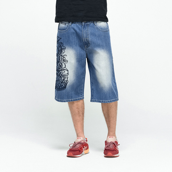 2018 Hip Hop Mens Baggy Denim Shorts Jeans Plus Size 44 46 Casual Flower Embroidery Skateboard Jeans Shorts For Male