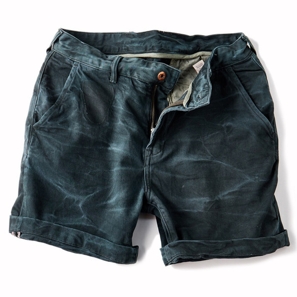 Wholesale- 2017 NEW Stonewash Process Vintage Short jeans Casual Mid waist Crimping Men's denim shorts Deep green