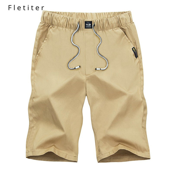 Cool Mens Slim Fit Solid Cotton Blend Soft Work Uniform Knee Length Beach Casual Shorts Summer Black Elastic Waist Shorts Male