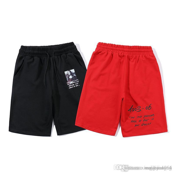 OC-18094, 2019 new men's shorts, letter print, elastic band, loose, comfortable.