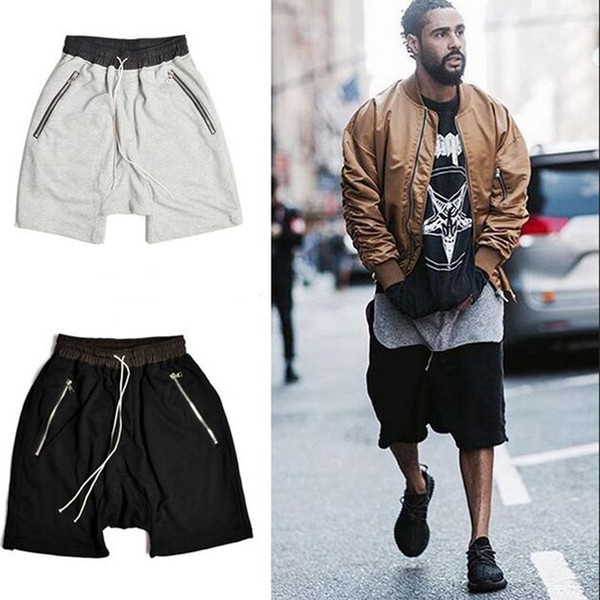 men hip hop casual shorts summer kanye style clothing loose sports black grey shorts justin bieber harem fear of god shorts