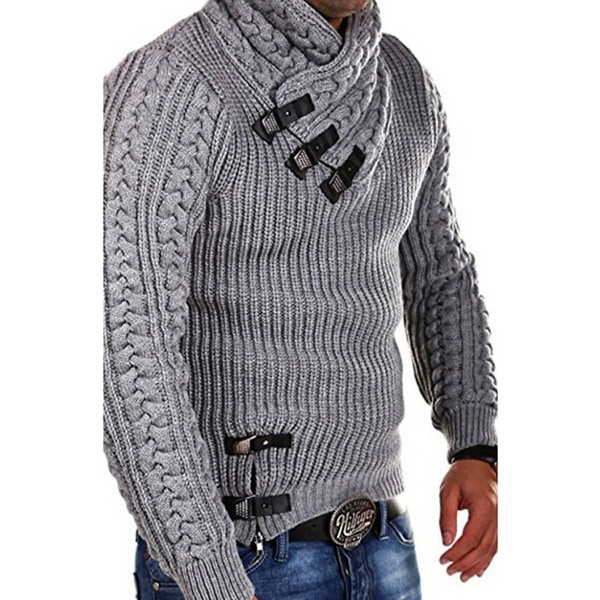 Mens Knitted Tops Long Sleeve Casual Slim Sweaters Hommes Winter Fit Buckles Decoration Sweaters Mens Clothing Solid Color
