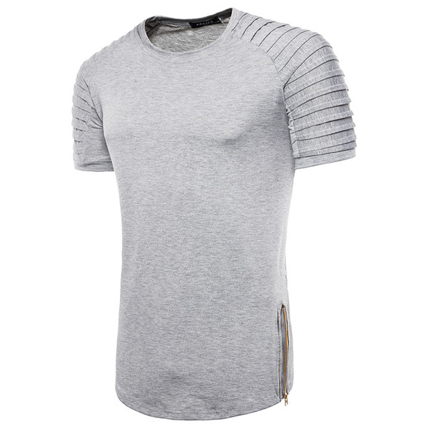 Men Clothing High Street Patchwork Casual Tshirts with Zippers Summer Male Solid Color Tees Short Sleeved Tops Free Shipping