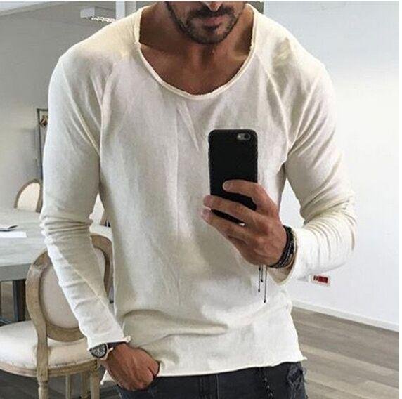 Mens Edge Curled Solid Color T-shirt Male Casual Vintage Thin Crew Neck Long Sleeve Tops Free Shipping