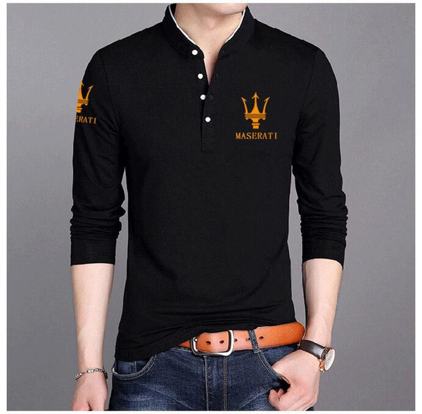 Teenager Tshirts Maserati Printed Designer Mens Tops Spring Autumn All Match Tops Long Sleeved