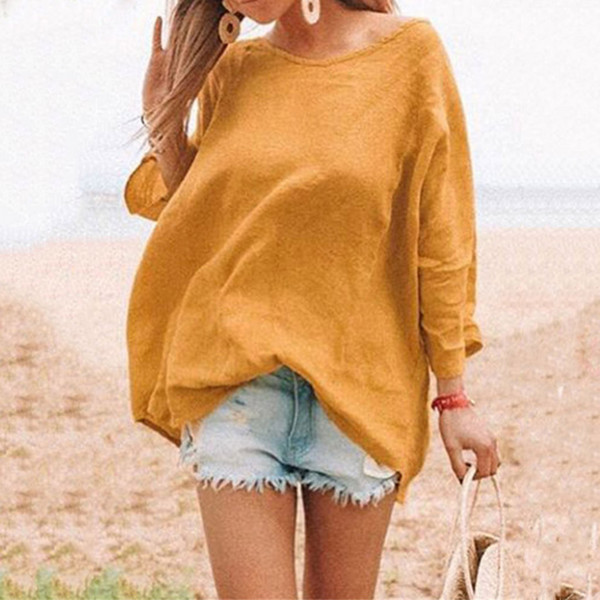 Feitong Large Size Women Blouse Women Round Neck Pure Color Long Sleeve Blouse Casual Loose Summer Blouses blusas mujer de moda