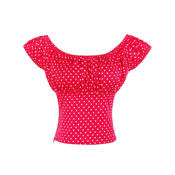 Woman Large Big Size Elegant Short Tops Fashion Ladies Polka Dot Sweet Blouses 2019 Summer Slash Neck Off Shoulder Youthful Tops
