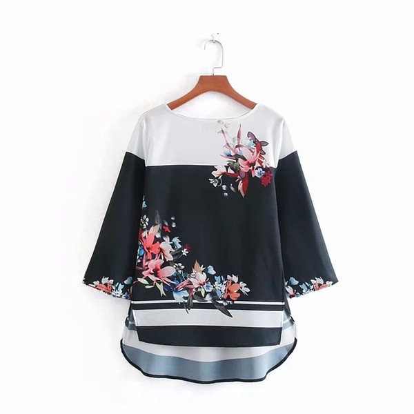 Flower Patchwork Printing Smock Women Shirt Female Three Quarter Sleeve Blouse Loose Tops 2019 Summer Blusas Mujer S5788