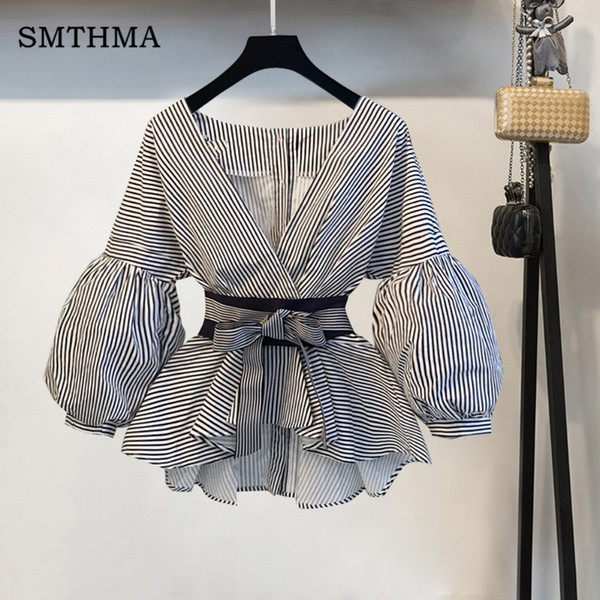 High Quality Lantern Sleeve Summer Blouse Shirt Women 2019 Fashion Korean Style Bow Sexy V-neck Striped Elegant Shirt