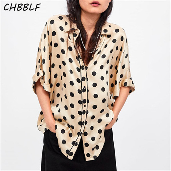 CHBBLF women sweet dots print blouse half sleeve turn down collar basic shirt female casual wear tops blusas mujer WDL6229